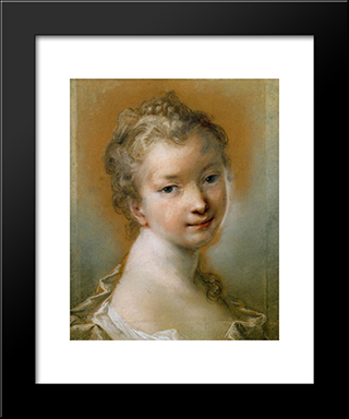 Portrait Of A Young Girl: Modern Black Framed Art Print by Rosalba Carriera