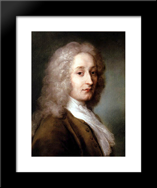 Portrait Of Antoine Watteau: Modern Black Framed Art Print by Rosalba Carriera