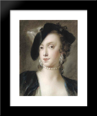 Portrait Of Caterina Sagredo Barbarigo: Modern Black Framed Art Print by Rosalba Carriera