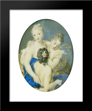 Portrait Of Francoise Marie De Bourbon, Duchess Of Orleans And Wife Of The Regent Of France, As Amphitrite: Modern Black Framed Art Print by Rosalba Carriera