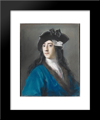 Portrait Of Gustavus Hamilton, 2Nd Viscount Boyne In Masquerade Costume: Modern Black Framed Art Print by Rosalba Carriera