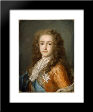 Portrait Of Louis Xv As Dauphin: Modern Black Framed Art Print by Rosalba Carriera