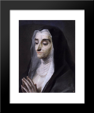 Portrait Of Sister Maria Caterina: Modern Black Framed Art Print by Rosalba Carriera