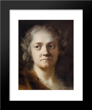 Self-Portrait: Modern Black Framed Art Print by Rosalba Carriera