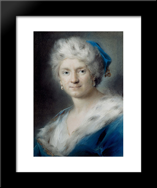Self-Portrait As Winter: Modern Black Framed Art Print by Rosalba Carriera