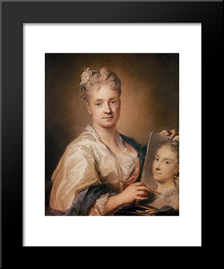 Self-Portrait Holding A Portrait Of Her Sister: Modern Black Framed Art Print by Rosalba Carriera