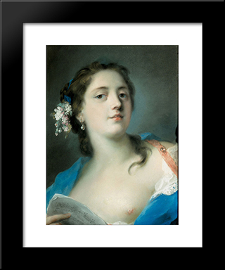 The Singer Faustina Bordoni With A Musical Score: Modern Black Framed Art Print by Rosalba Carriera