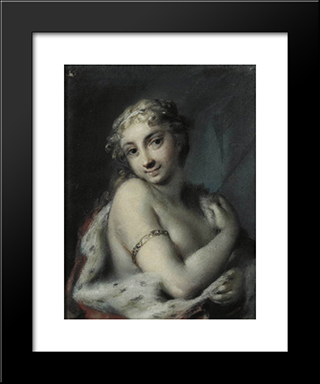 Winter: Modern Black Framed Art Print by Rosalba Carriera