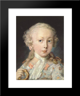 Young Child Of The Le Blond Family: Modern Black Framed Art Print by Rosalba Carriera