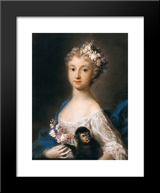 Young Girl Holding A Monkey: Modern Black Framed Art Print by Rosalba Carriera