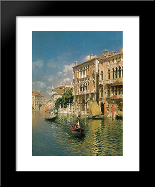 A Gondola Ride, Venice: Modern Black Framed Art Print by Rubens Santoro