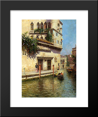 A Venetian Backwater: Modern Black Framed Art Print by Rubens Santoro