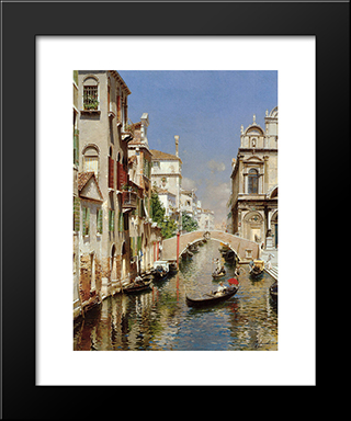 A Venetian Canal With The Scuola Grande Di San Marco And Campo San Giovanni E Paolo, Venice: Modern Black Framed Art Print by Rubens Santoro