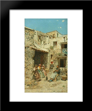 Basket Makers In Naples: Modern Black Framed Art Print by Rubens Santoro