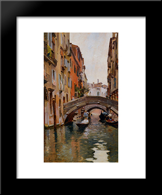 Gondola On A Venetian Canal: Modern Black Framed Art Print by Rubens Santoro