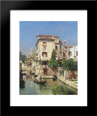 Gondoliers On A Venetian Canal: Modern Black Framed Art Print by Rubens Santoro