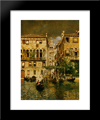 Leaving A Residence On The Grand Canal: Modern Black Framed Art Print by Rubens Santoro