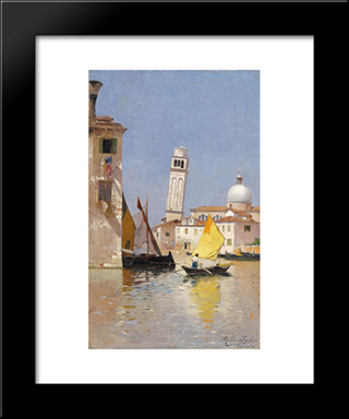 View Of San Pietro Di Castello, Venice: Modern Black Framed Art Print by Rubens Santoro
