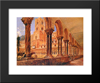 A View Of Monreale, Above Palermo: Modern Black Framed Art Print by Rudolf von Alt