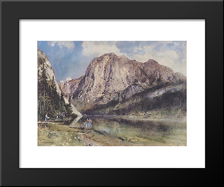 Altausseersee With Trisselwand: Modern Black Framed Art Print by Rudolf von Alt