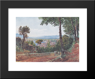 Castellammare On The Gulf Of Naples: Modern Black Framed Art Print by Rudolf von Alt