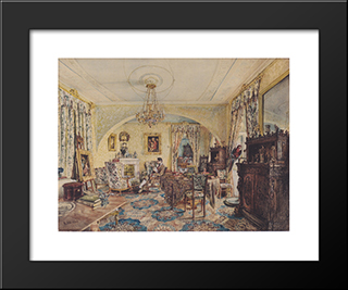 Count Casimir Batthyany In His Saloon At Castle Siklos: Modern Black Framed Art Print by Rudolf von Alt