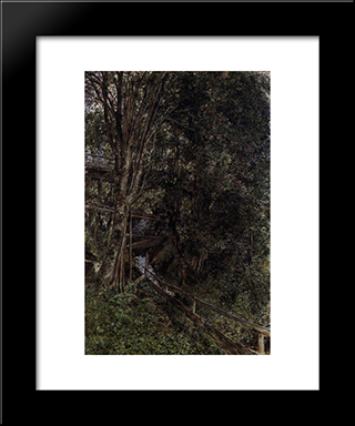 Figures On A Bridge Over A Stream At Gastein: Modern Black Framed Art Print by Rudolf von Alt