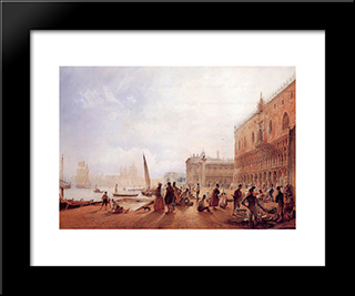 Figures On The Riva Degli Schiavone: Modern Black Framed Art Print by Rudolf von Alt