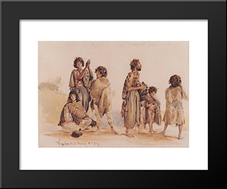 Galician Gypsies: Modern Black Framed Art Print by Rudolf von Alt