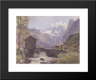 Hoher Dachstein From Lower Gosau: Modern Black Framed Art Print by Rudolf von Alt