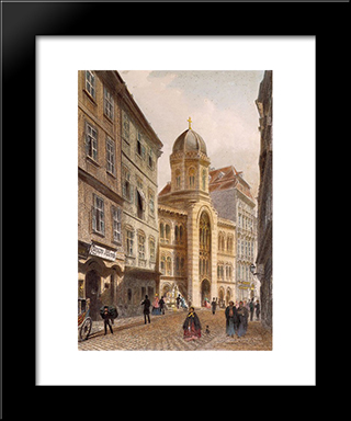 Holy Trinity Greek Church, Vienna: Modern Black Framed Art Print by Rudolf von Alt