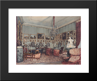 Interior In Palace Windischgratz In The Race In Vienna: Modern Black Framed Art Print by Rudolf von Alt