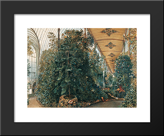 Interior View Of The Palm House Of Lednice Castle: Modern Black Framed Art Print by Rudolf von Alt