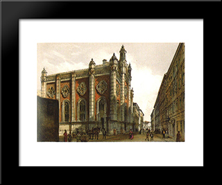 Jewish Temple In The City Leopold: Modern Black Framed Art Print by Rudolf von Alt