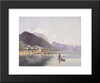 Lake Traun: Modern Black Framed Art Print by Rudolf von Alt