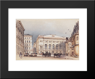 Lower Austrian Country House In Vienna Viewed From Minoritenplatz: Modern Black Framed Art Print by Rudolf von Alt