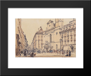 Michaelerplatz And Carbon Market In Vienna: Modern Black Framed Art Print by Rudolf von Alt