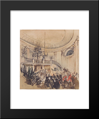 Mortuary In A Palace: Modern Black Framed Art Print by Rudolf von Alt