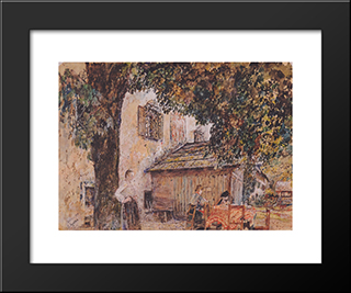 Motif From Goisern: Modern Black Framed Art Print by Rudolf von Alt