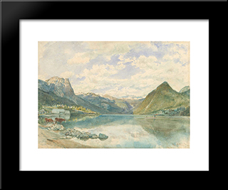 Mountain Landscape With The Grundlsee: Modern Black Framed Art Print by Rudolf von Alt