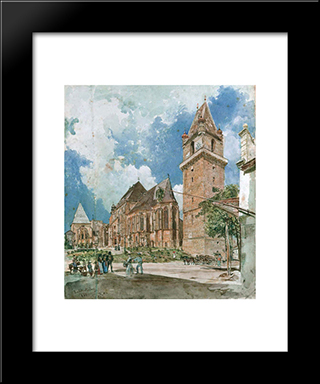 Perchtoldsdorf: Modern Black Framed Art Print by Rudolf von Alt