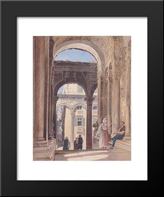 Ruins Of Diocletian At Spalato: Modern Black Framed Art Print by Rudolf von Alt