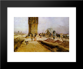 Rush Hour Traffic On The National Road: Modern Black Framed Art Print by Rudolf von Alt