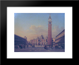 St. Mark'S Square In Venice With Austrian Military: Modern Black Framed Art Print by Rudolf von Alt