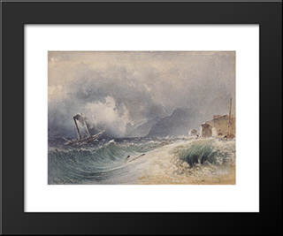 Storm On Lake Garda: Modern Black Framed Art Print by Rudolf von Alt