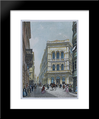 The Banking And Stock Exchange Building In The Lord, Vienna: Modern Black Framed Art Print by Rudolf von Alt