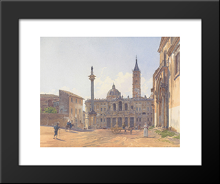 The Basilica Of Santa Maria Maggiore In Rome: Modern Black Framed Art Print by Rudolf von Alt