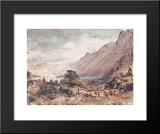 The Bay Of Cattaro In Dalmatia: Modern Black Framed Art Print by Rudolf von Alt
