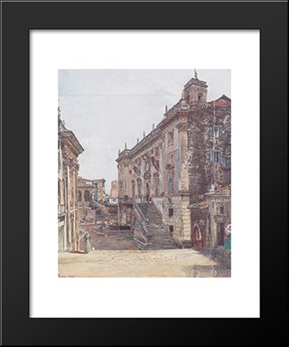 The Capitol In Rome: Modern Black Framed Art Print by Rudolf von Alt