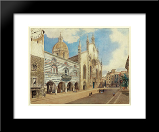 The Cathedral Square In Como: Modern Black Framed Art Print by Rudolf von Alt